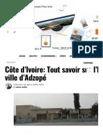 Côte d'Ivoire_ Tout savoir sur l'histoire de la ville d'Adzopé