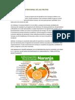 INFORMACION NUTRICIONAL DE LAS FRUTAS