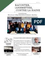 """Journal du projet """"Raconter et transmettre pour lutter contre la haine"""" (collège Michel-Richard Delalande, Athis-Mons)."""