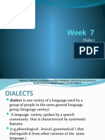 Week  7  Dialect