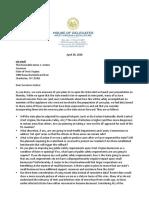 Letter From Legislators in Response to Plan to Re-open