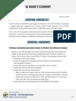 Restarting Maine's Economy General Guidance Checklist 4.29.20 2
