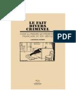 Ouvrage LE FAIT DIVERS CRIMINEL DANS LA PRESSE QUOTIDIENNE FRANÇAISE DU XIXe SIÈCLE.pdf