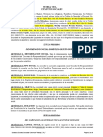 Estatutos Sociales - Ribbay, SRL.