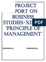 BUSINESS STUDIES PROJECT ON PRINCIPLE OF MANAGEMENT
