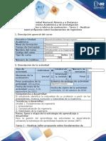 Guía de actividades y rúbrica de evaluación – Tarea 1 – Realizar taller propuesto sobre fundamentos de ingeniería