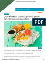 ¿Qué beneficios tienen las proteínas para la salud de las personas adultas_