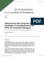 Alternance des langues et stratégie d'enseignement en EPS en contexte bilingue