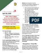 Moraga Rotary Newsletter April 28 2020