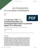 «C'est qui TGV?» Contextualisation de l'enseignement dans le premier degré à La Réunion