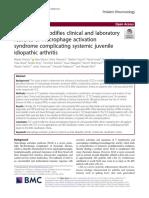 Tocilizumab modifica la clinica y el laboratorio de pacientes con SAM en AIJ