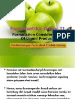 Formulation Considerations of Liquid Products