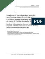 Artigo - Paradoxos da formalização - a inclusão social dos catadores de recicláveis a partir do caso do encerramento do aterro