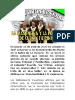 HACE 100 AÑOS PERDIDA DE CUBA Y FILIPINAS CONSPIRACION MASÓNICA (1 DE 2)