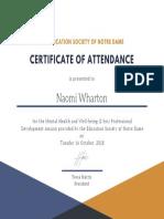 certificate mental health teaching