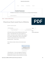 Mantras that need Guru Diksha