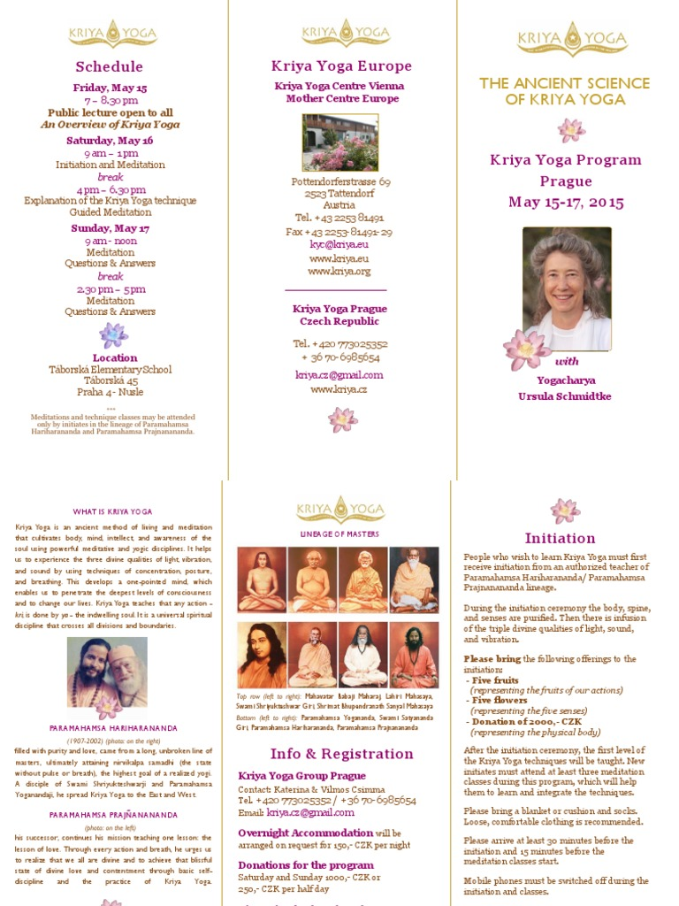 Schedule Kriya Yoga Europe Yoga Hindu Prayer And Meditation