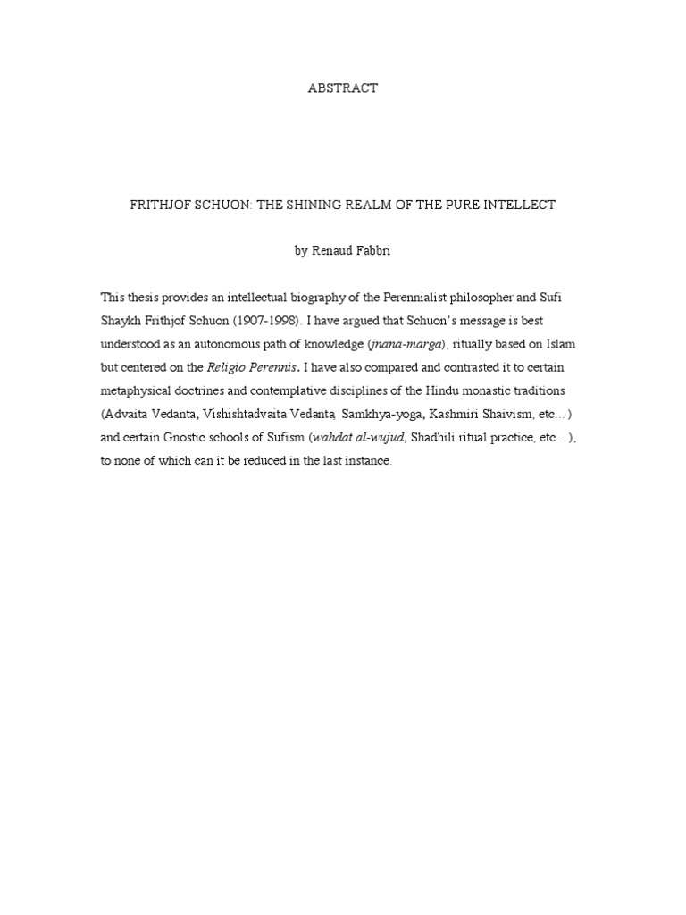 Frithjof Schuon: The Shining Realm of the Pure Intellect - Renaud ...