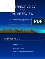 Effective CV and Interview skills