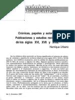 cronicas, papeles y autores, publicaciones y estudios recientes de los siglos XVI, XVII Y XVIII.pdf