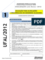 Prova - Educacao Relacoes Etnicorraciais - Tipo 1
