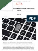 A obrigação de registro das atividades de tratamento de dados - JOTA Info