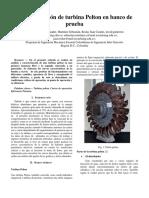 Caracterización de Turbins Pelton en banco de pruebas