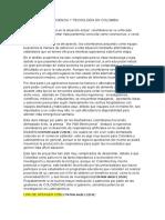 GUION ALEX TORO CIENCIA Y TECNOLOGÍA EN COLOMBIA ACTUALMENTE