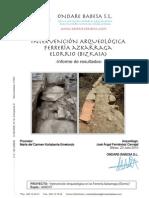 Intervención Arqueológica. Ferrería Azkarraga. Elorrio (Bizkaia). Informe de Resultados