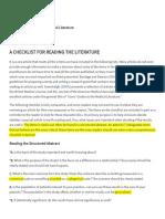 A Checklist for Reading the Literature