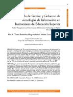 Modelo de Gestión y Gobierno de Tecnologías de Información en Instituciones de Educación Superior