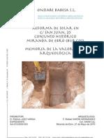 Reforma de Solar en C/San Juan, 25. Conjunto Histórico Miranda de Ebro (Burgos). Memoria de la Valoración Arqueológica