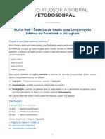 Live 046 - Geração de Leads para Lançamento Interno no Facebook e Instagram
