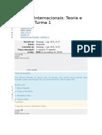 Relações Internacionais Teoria e História  Turma 1