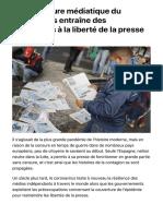 La couverture médiatique du coronavirus entraîne des restrictions à la liberté de la presse | FR24 News France