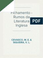 Fichamento e Resumo Rumos da Literatura Inglesa de Cevasco e Siqueira