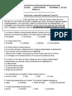 EVALUACIÓN FINAL DE CASTELLANO 3° P CUARTO 2019