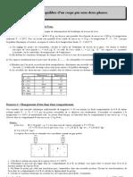 Thermodynamique exercices T6- Equilibre d'un corps pur sous deux phases