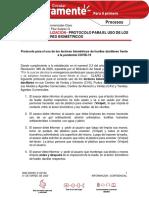 ACTUALIZACIÓN - PROTOCOLO PARA EL USO DE LOS CAPTORES BIOMETRICOS