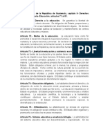 Constitución Política de la República de Guatemala, capitulo II- Derechos sociales, Sección Cuarta- Educación, artículos 71 al 81..docx