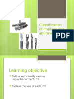 Classification of Implant and Abutments