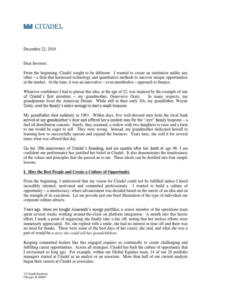 Citadel Letter   Hedge Fund   Investor