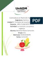 La nutrición y la química orgánica.  evidencia de aprendizaje
