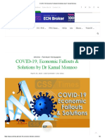 COVID-19; Economic Fallouts & Solutions by Dr Kamal Monnoo