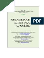 POUR UNE POLITIQUE SCIENTIFIQUE