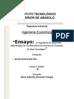 Ensayo La Importancia De Desarrollar Metodologías De Las Alternativas De Inversión En Proyectos De Base Tecnológica