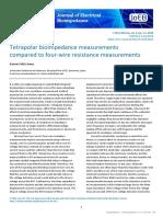 [18915469 - Journal of Electrical Bioimpedance] Tetrapolar bioimpedance measurements compared to four-wire resistance measurements