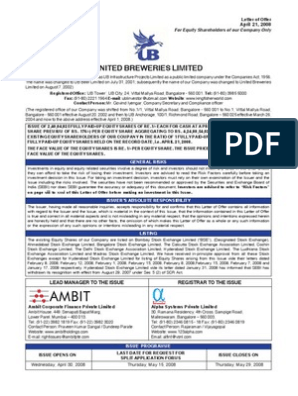United Brew   Stocks   Securities (Finance)