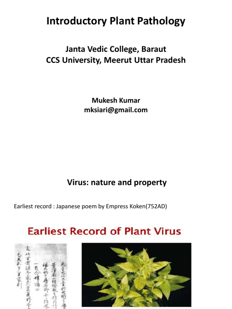 Introductory Plant Pathology Janta Vedic College Baraut Ccs University Meerut Uttar Pradesh Plant Virus Virus