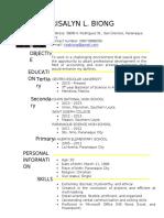 RisalynBiong Resume